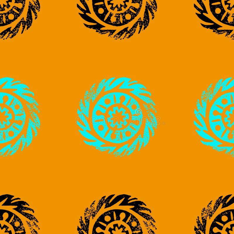 Person som tillhör en etnisk minoritet stam- infödd cirkel, mandala Hand dragen linocut seamless modell Afrikan mexikan, indier,  vektor illustrationer