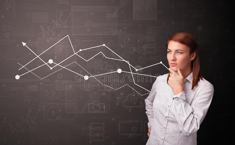 Person standing with increasing graph concept. Young person standing with increasing graph conceptn royalty free stock image
