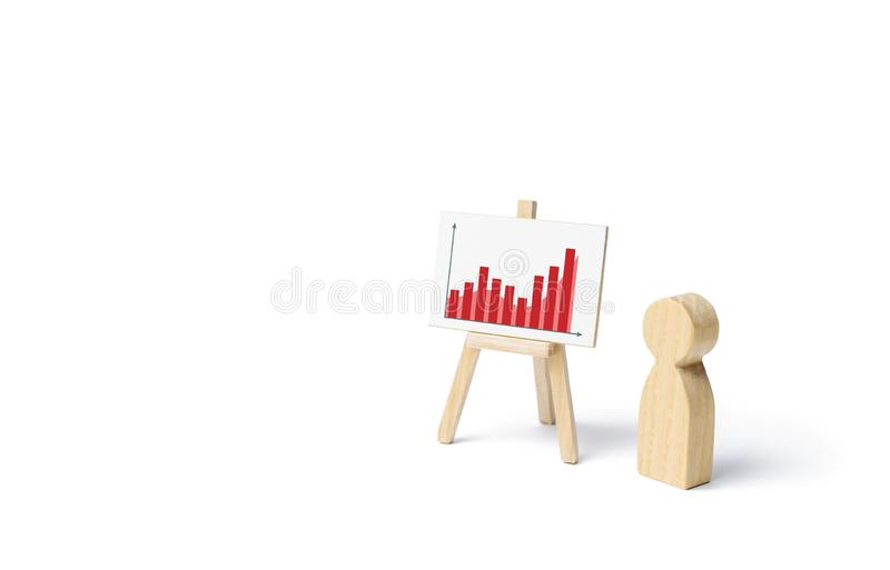 A person is standing near a stand with sastatistics graph. Financial success and achievement. Business report and idea. Summarizing. Analysis, market research stock image