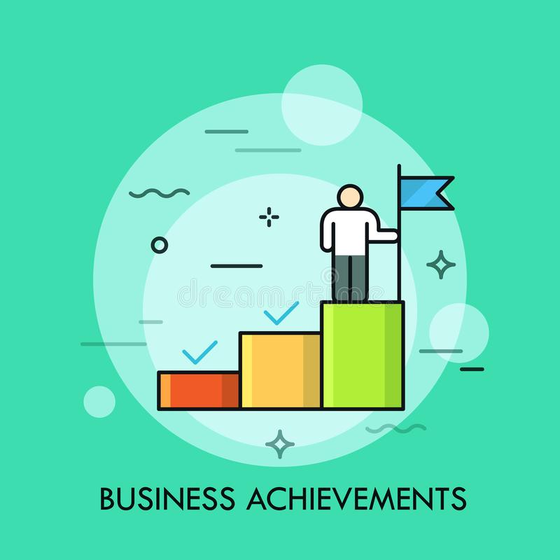 Person standing on the upper step of stairs and holding flag. Concept of business goal achievement, successful project vector illustration