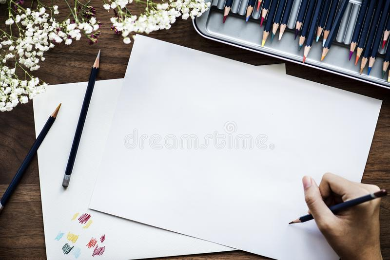 Person Starting to Draw stock image