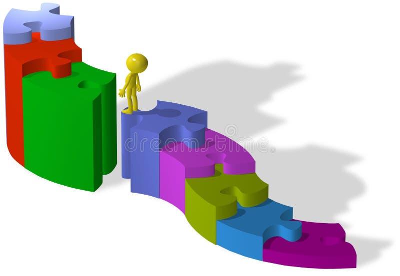 Person steigen oben die Puzzlespielstücke, die Lösung verfehlen lizenzfreie abbildung