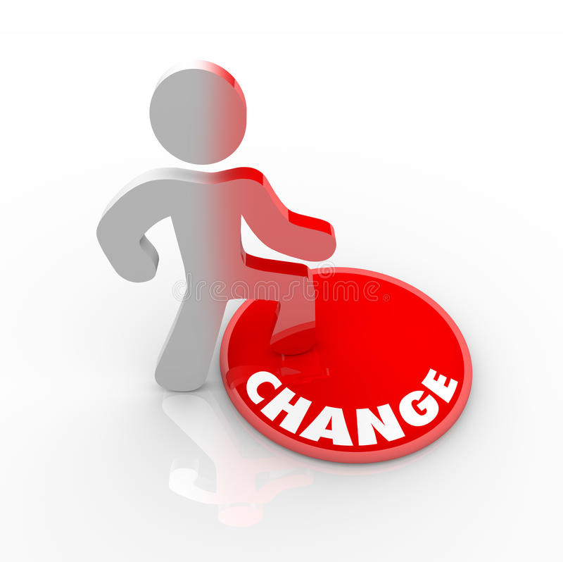 Free Person Stepping Onto Change Button Stock Photos - 12354673