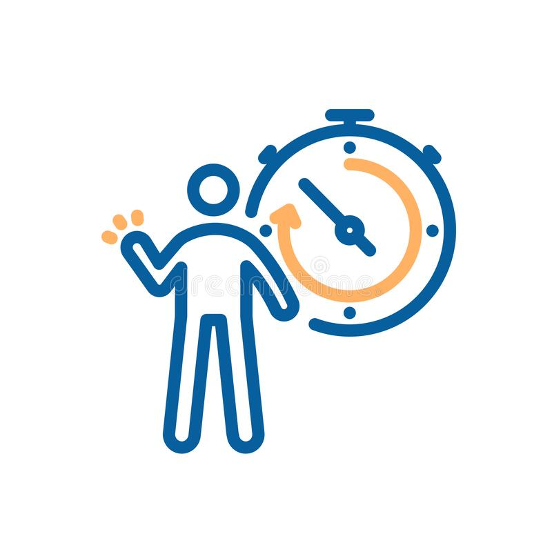 Person and stopwatch icon. Vector illustration for sports, breaking records, competitive concepts, success and motivation, vector illustration
