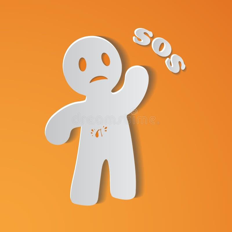 Person Suffering From Gallbladder Ache doente com cartaz Inscripted SOS, pedindo a doutor Or Patient For a ajuda médica, cuidado ilustração royalty free