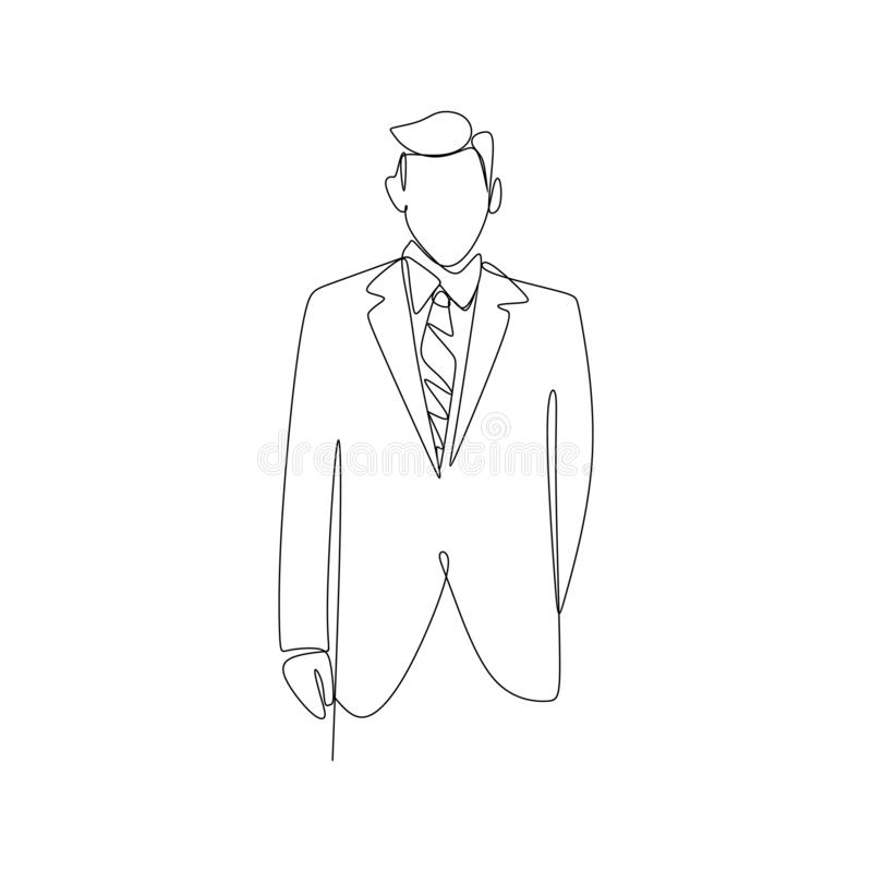 A person with a suit dress continuous line art drawing of famous businessman standing pose success concept royalty free illustration