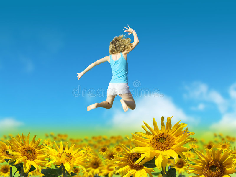 Person in Sunflower Field royalty free stock photography