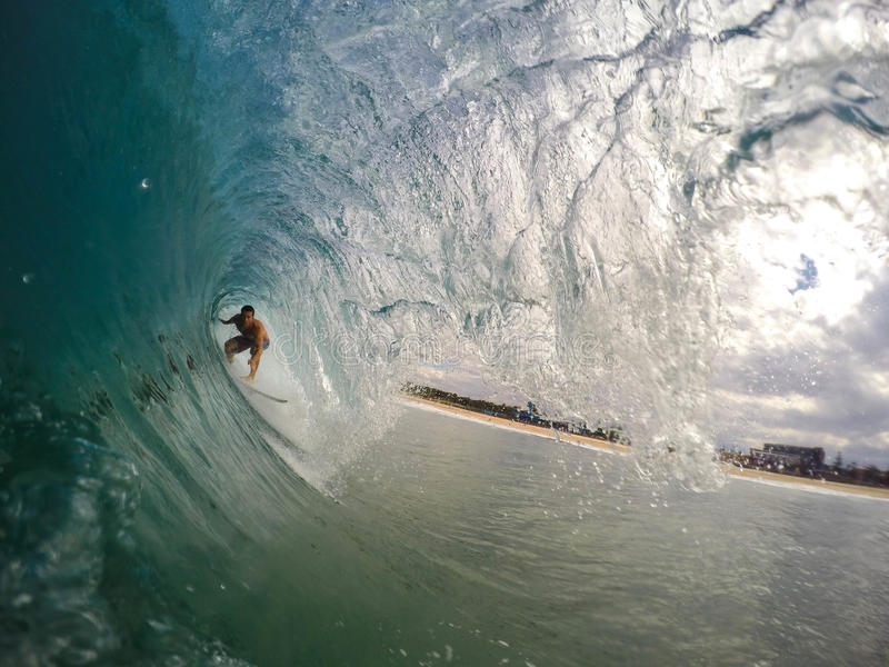 Person Surfing Over The Wave Tunnel During Daytime Free Public Domain Cc0 Image