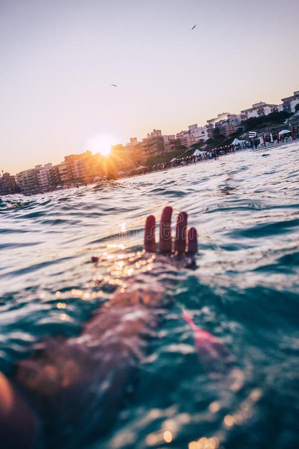 Person Swimming At The Beach royalty free stock image