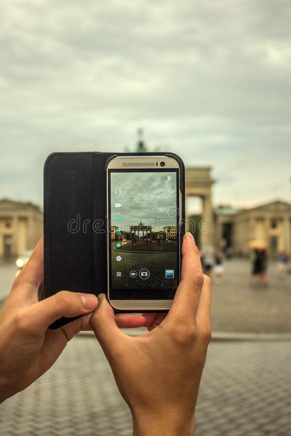 Person Taking Picture Using Gray Smartphone stock photos