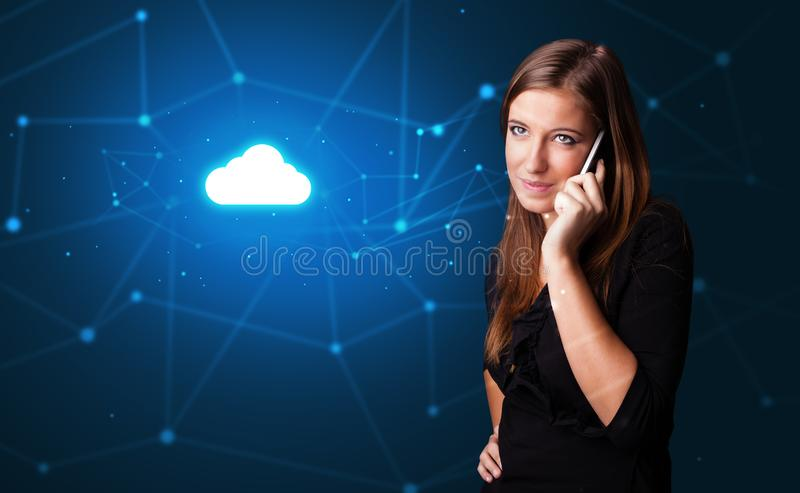 Person talking on the phone with cloud technology concept stock photo