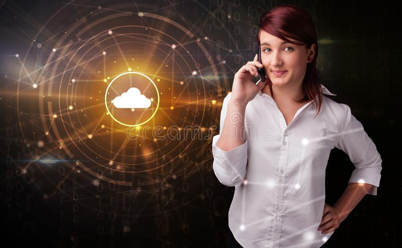 Person talking on the phone with cloud technology concept stock photography