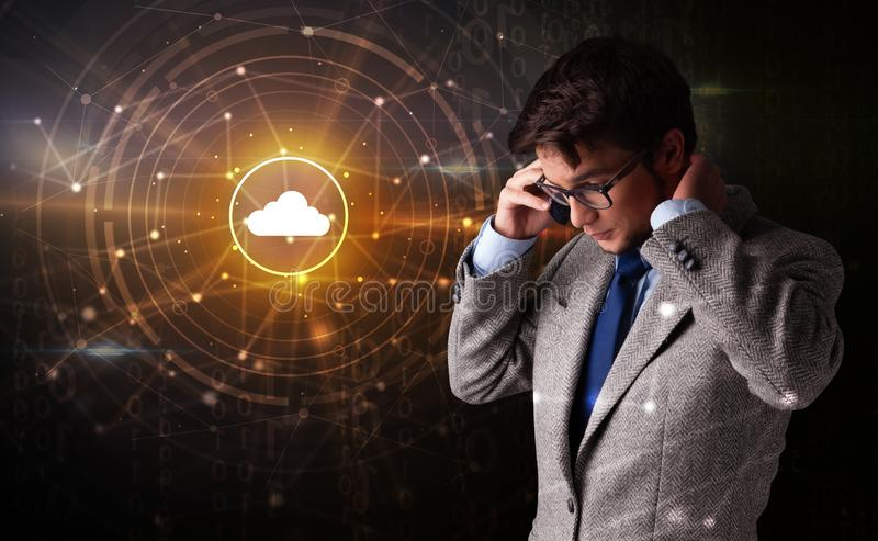 Person talking on the phone with cloud technology concept royalty free stock photos
