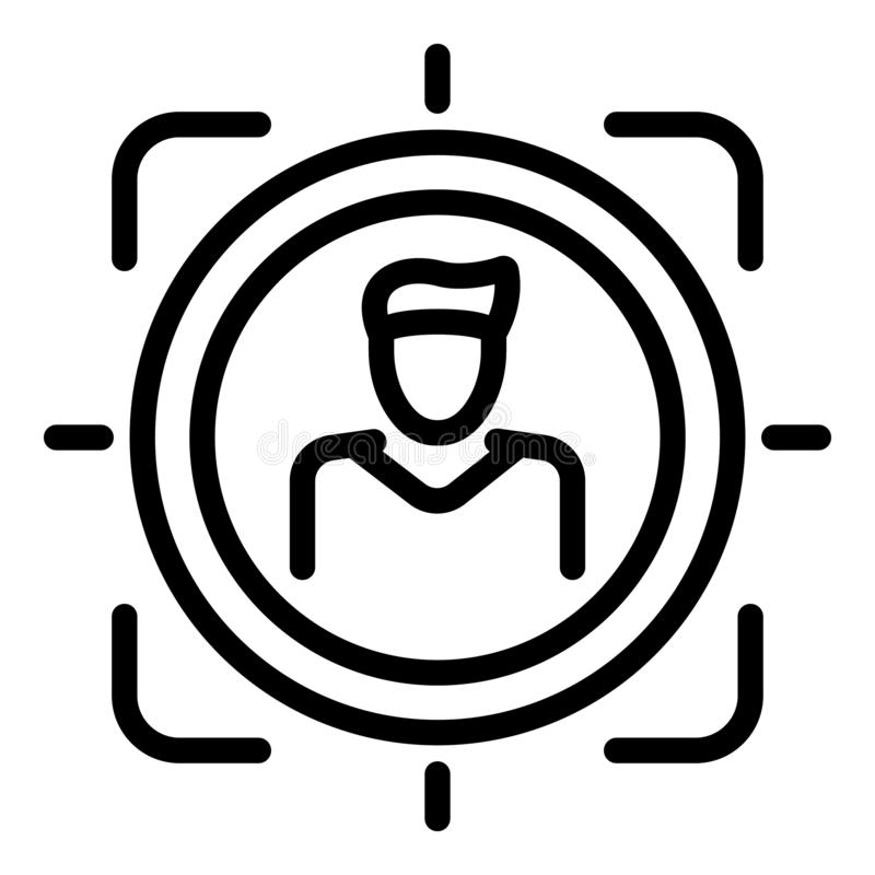Person target icon, outline style royalty free illustration