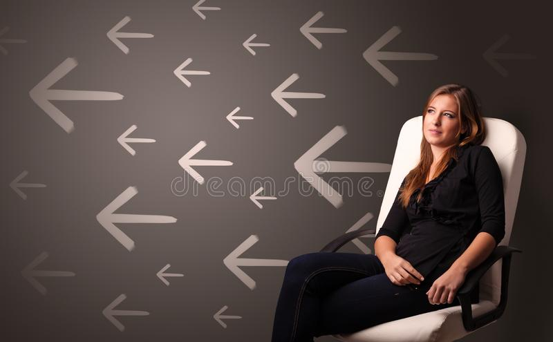 Person thinking with direction concept background royalty free stock photo