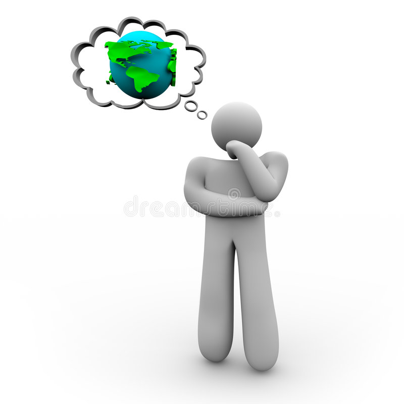 Person Thinking About the Earth. A figure of a person stands pondering the Earth royalty free illustration