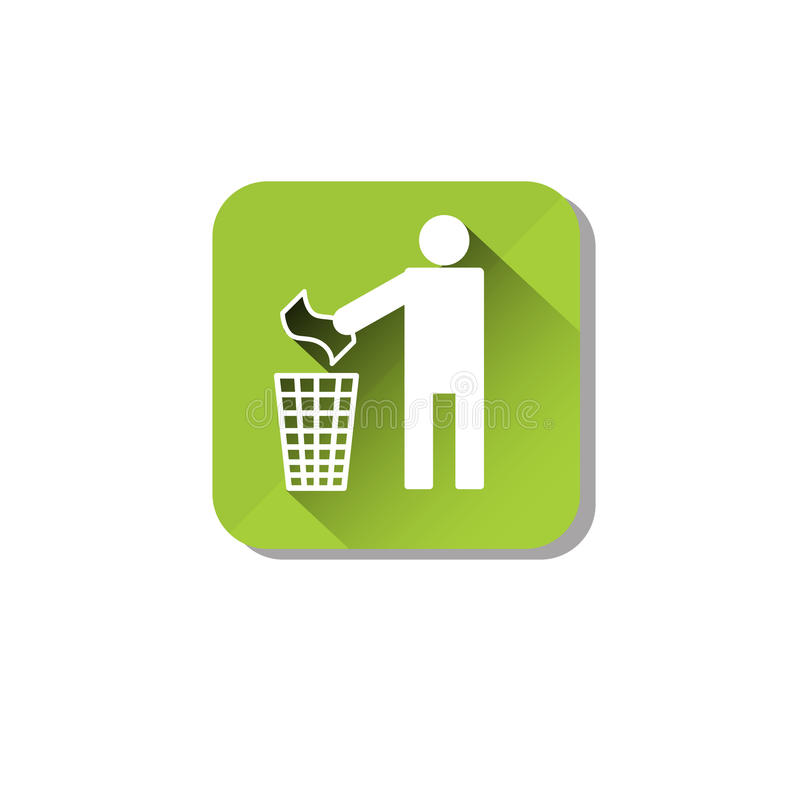 Person Throw Rubbish To Recycle-het Pictogram van het Bakweb stock illustratie