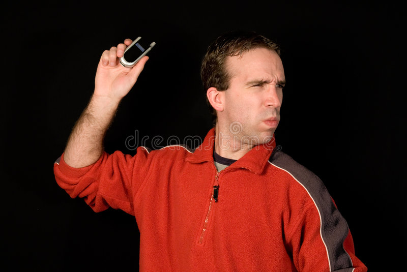 Person Throwing Cell stock photo