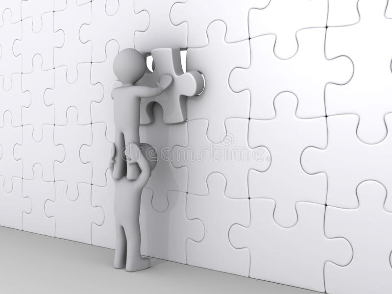 Person On Top Of Another Completing Puzzle Stock Photography
