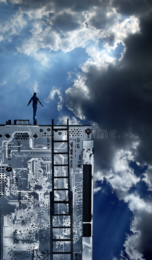 Person on Top of Technology royalty free stock images