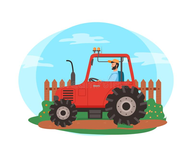 Farmer Driving Tractor on Field, Farming Season. Person in tractor vector, agriculture and husbandry seasonal works. Man sitting in agricultural machinery, fence stock illustration