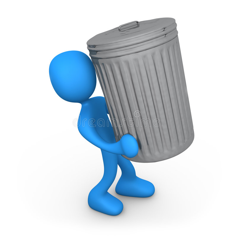 Person with trash can. royalty free illustration