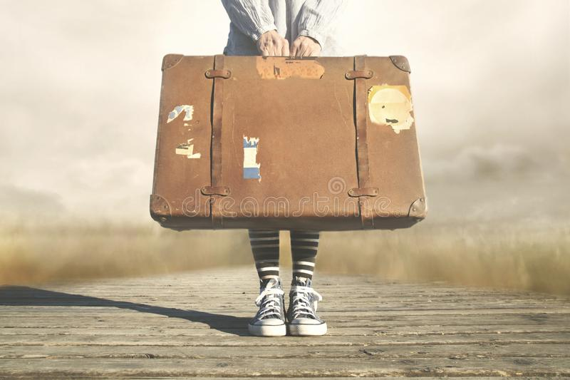 Person travels to a new adventure stock photo
