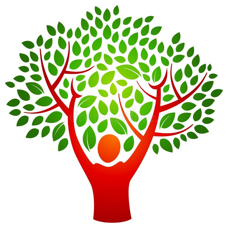 Person tree logo. A person with hands raised make branches and a tree in this logo royalty free illustration