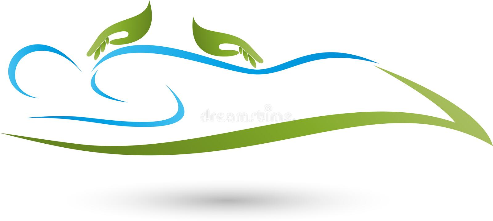 A person and two hands, massage and naturopathic logo royalty free illustration
