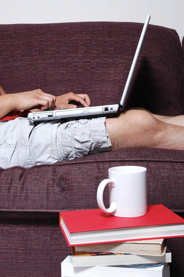 Download Person typing on Laptop stock image. Image of sofa, mobility - 1099589