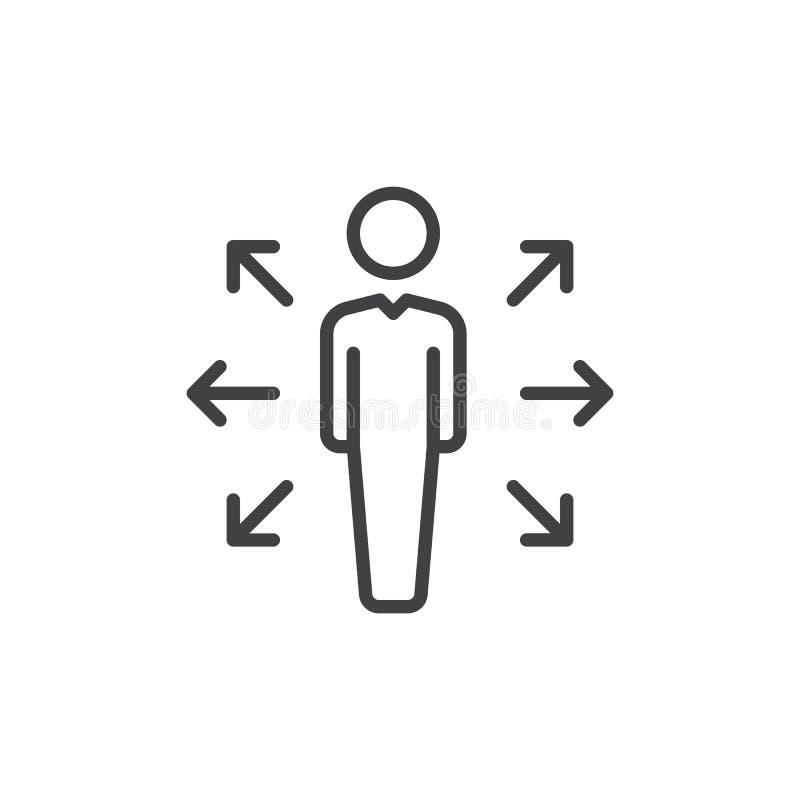Person und Pfeile zeichnen Ikone, Entwurfsvektorzeichen, das lineare Artpiktogramm, das auf Weiß lokalisiert wird Karrieregelegen stock abbildung