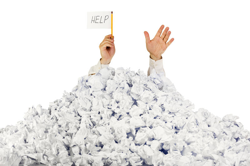 Download Person Under Crumpled Pile Of Papers Stock Image - Image: 24254887