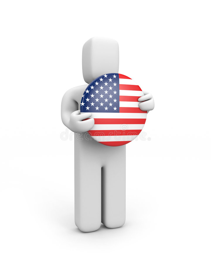 Person with USA flag (badge) royalty free illustration