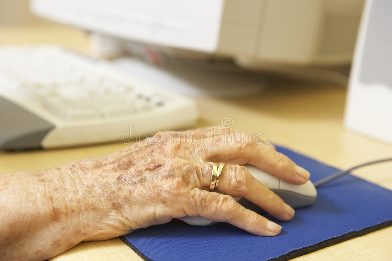 Person using computer stock photography