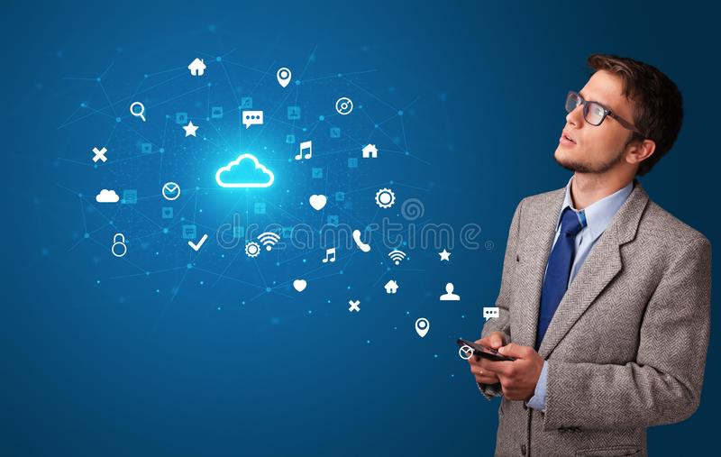 Person using phone with cloud technology concept royalty free stock photos