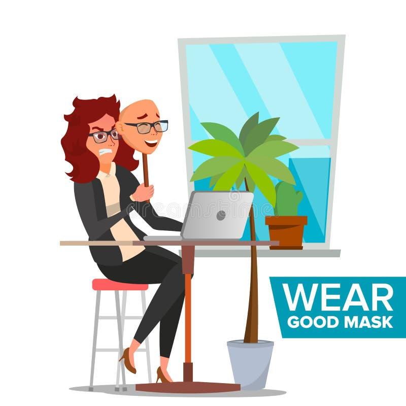 Person Vector falso Mujer mala, cansada Engañe el concepto Máscara de la sonrisa del desgaste de la mujer de negocios Personaje d stock de ilustración