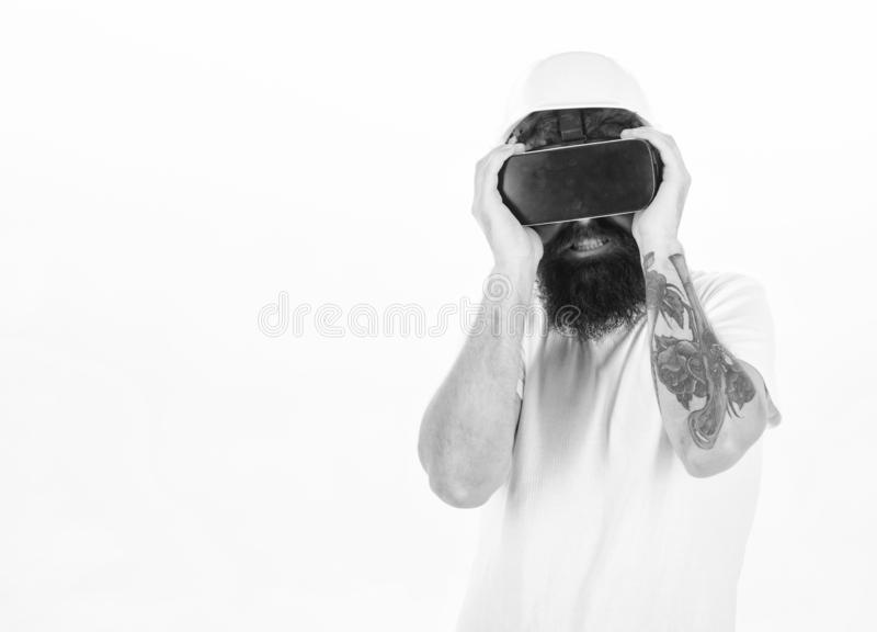 A person in virtual glasses flies in room space. 3d technology, virtual reality, entertainment, cyberspace and people. Concept - happy young man with virtual royalty free stock photos