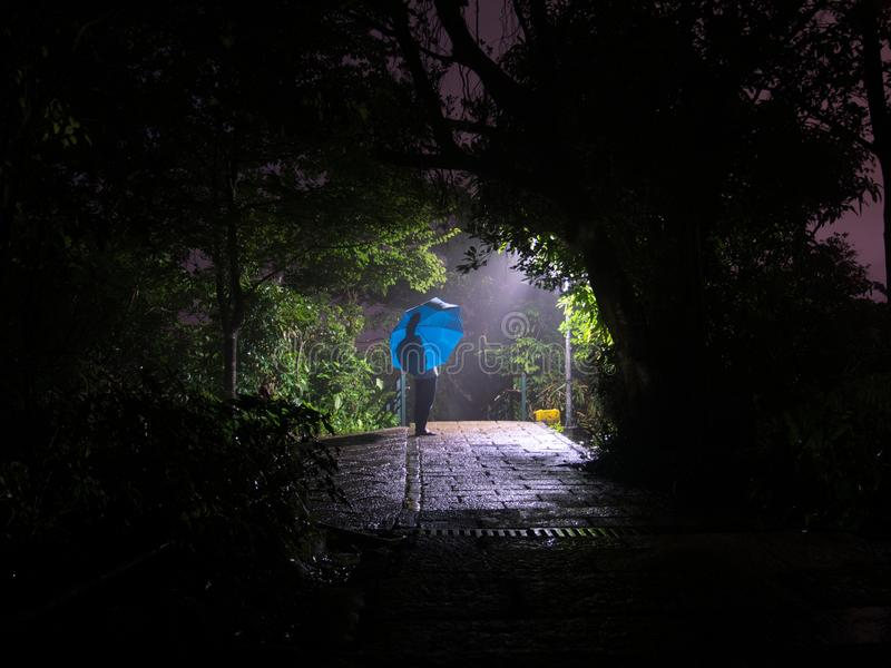 Person waiting with blue umbrella at night in the rain stock photos