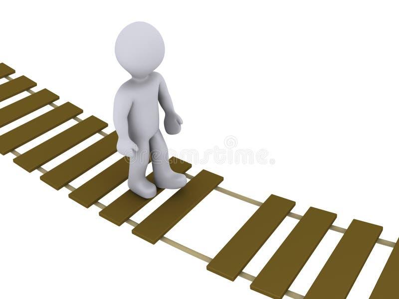 Download Person Walking On Damaged Bridge Stock Illustration - Illustration: 23644802