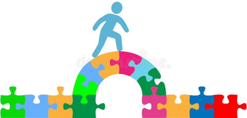 Download Person Walking Over Puzzle Bridge Solution Stock Vector - Image: 26532876
