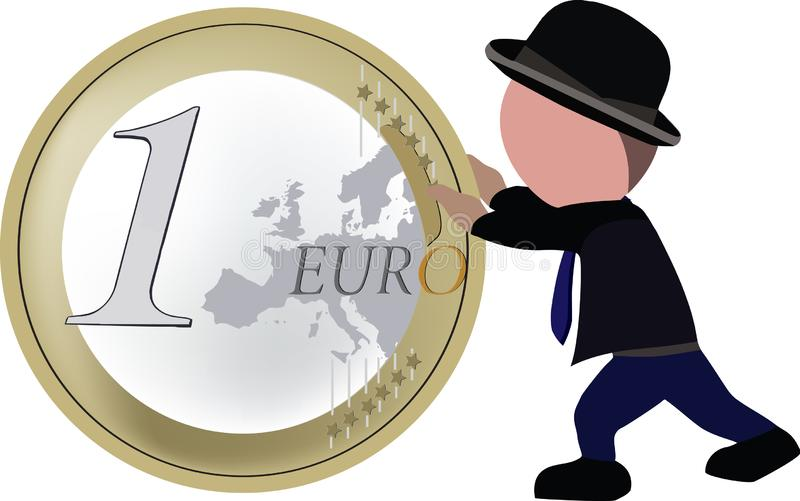 Person walking pushes one euro coin.  royalty free illustration