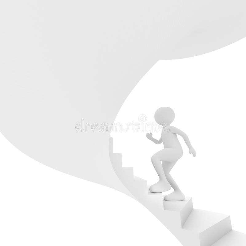 Person walks up stairs