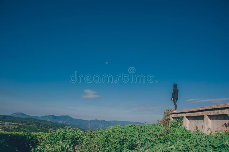 Person Wearing Black Hoodie Standing Near Cliff Above Green Leaf Plants stock image