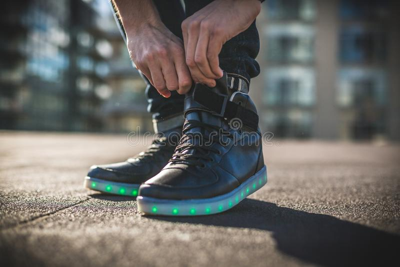 Person Wearing Black Shoes royalty free stock images