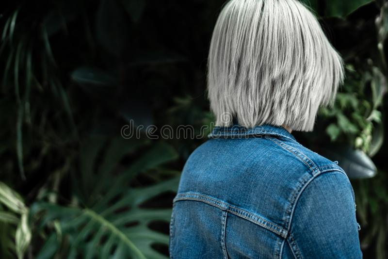 Person Wearing Blue Denim Jacket royalty free stock images