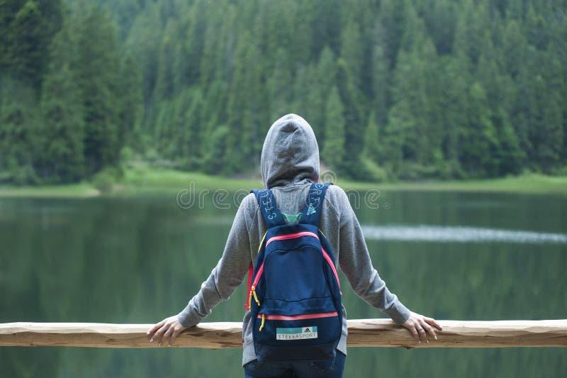 Person Wearing Gray Hoodie Jacket Watching Lake stock images
