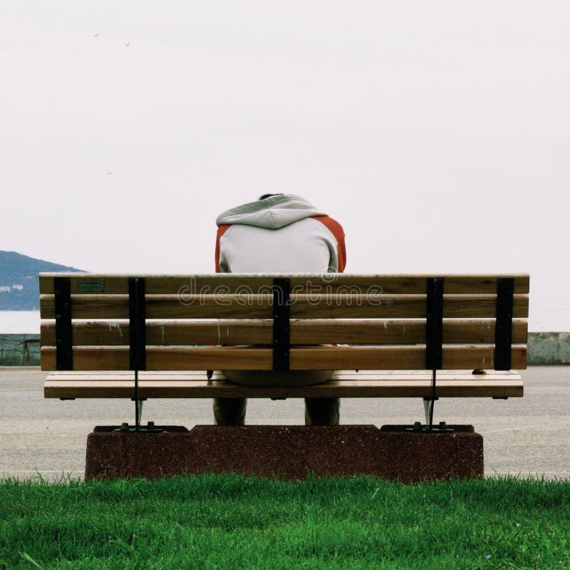 Person Wearing Grey e maglia con cappuccio arancio che si siedono sul banco di parco di legno di Brown durante il giorno immagini stock