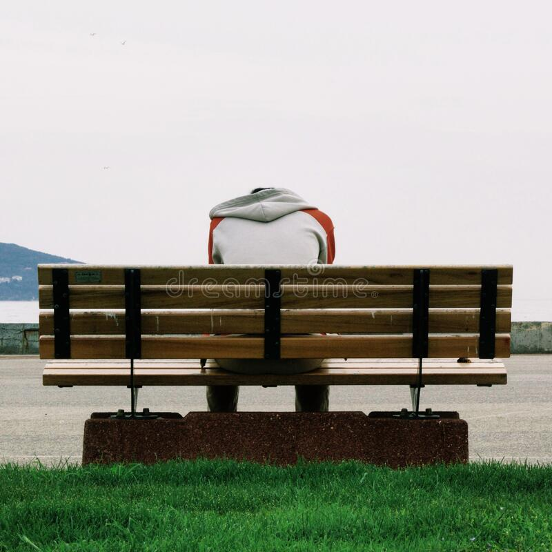 Person Wearing Grey and Orange Hoodie Sitting on Brown Wooden Park Bench during Daytime stock images