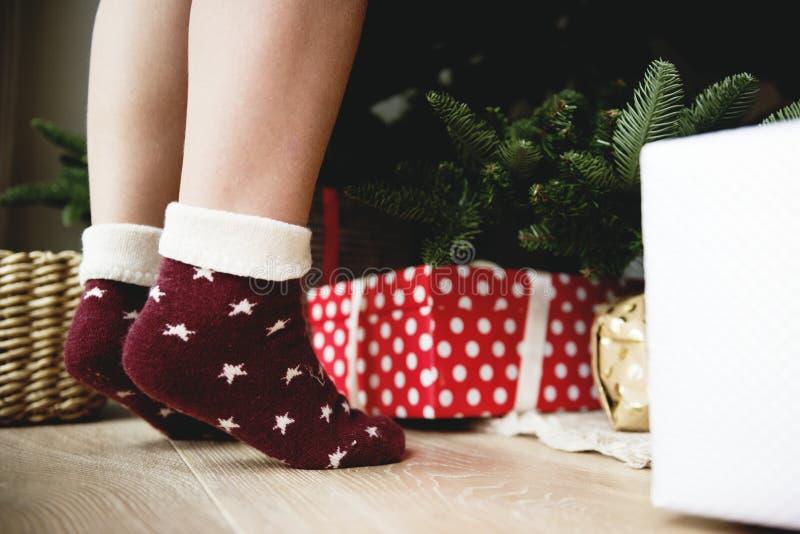 Person Wearing Pair Of Maroon Star Printed Socks Free Public Domain Cc0 Image