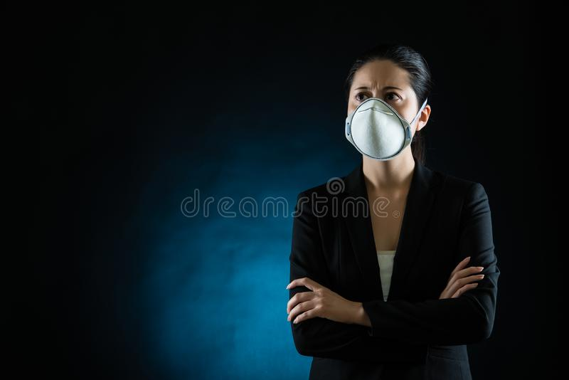 Person wearing protective mask against infectious stock photos